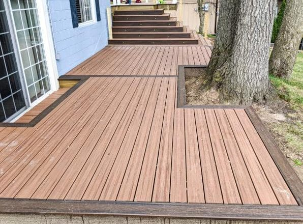 Composite Deck built by Allied-Classic Picture Frame style-steps
